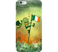 Green Leprechaun Singing on a Flag Pole iPhone Case/Skin