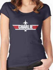 Custom Top Gun Style - Charlie Women's Fitted Scoop T-Shirt