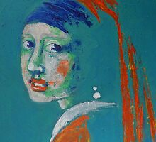 Girl With A Pearl Earring - Blue Portrait by CarmenT