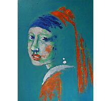 Girl With A Pearl Earring - Blue Portrait Photographic Print