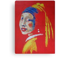Girl With A Pearl Earring - Red Portrait Canvas Print
