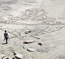 Sand Drawing Artist at Work by seeingred13