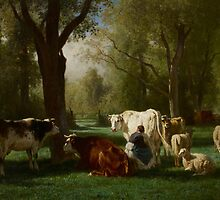 Landscape with Cattle and Sheep, 1852-8 by Bridgeman Art Library
