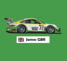 """James"" Green-Yellow Race Car - Kid's T-shirt One Piece - Short Sleeve"