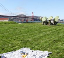Picnicking at Golden Gate bridge, San Francisco Sticker