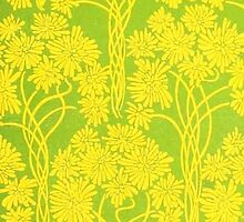 Retro Green and Yellow Floral Pattern by RedPine