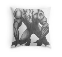 Werewolf Drawing Throw Pillow