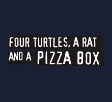 Four Turtles, a Rat and a Pizza Box Kids Tee