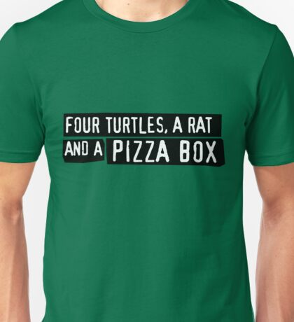 Four Turtles, a Rat and a Pizza Box Unisex T-Shirt