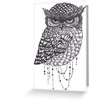 Vintage Hipster Owl Greeting Card