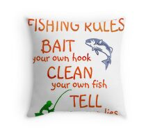 FISHING - RULES Throw Pillow