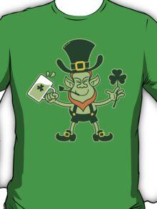 Green Leprechaun Drinking a Toast T-Shirt