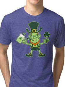 Green Leprechaun Drinking a Toast Tri-blend T-Shirt