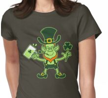 Green Leprechaun Drinking a Toast Womens Fitted T-Shirt