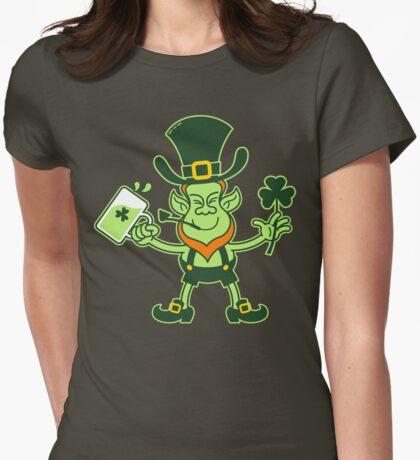 Green Leprechaun Drinking a Toast Womens Fitted T-Shirt