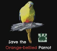 Orange-bellied Parrot t-shirt (dark) by OBparrot