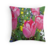 Family Of Tulips (Watercolor) Throw Pillow