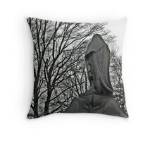 Hooded Figure in Mourning Throw Pillow