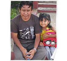 father and daughter in the central park- Ahuachapan, El Salvador Poster