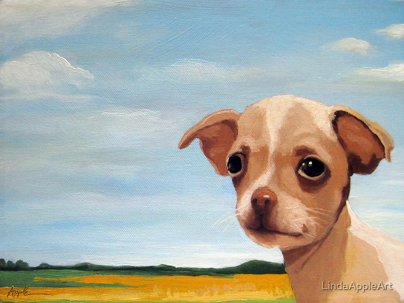 Chihuahua puppy dog animal portrait - King of his Land by LindaAppleArt