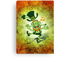 Irish Leprechaun Dancing and Singing Canvas Print