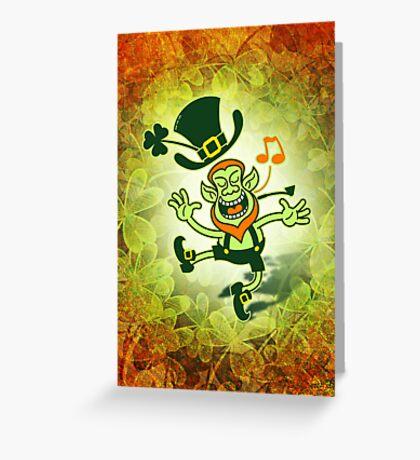 Irish Leprechaun Dancing and Singing Greeting Card