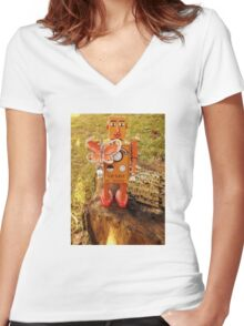 Robot Gets Down With Nature. Women's Fitted V-Neck T-Shirt