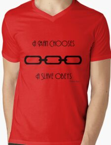 Bioshock Man Chooses Slave Obeys Plain Mens V-Neck T-Shirt