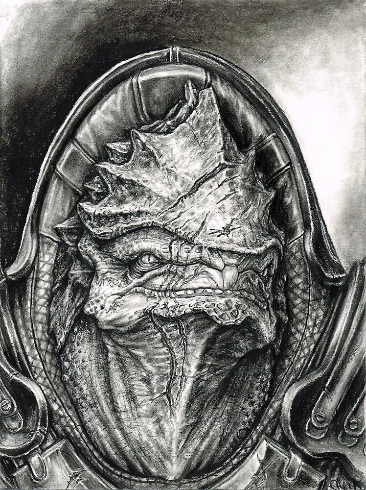 Wrex Portrait in Charcoal by efleck