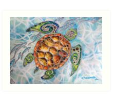 """Honu Island Waters"" Tropical Tribal Sea Turtle Painting by Christie Marie Elder-Ussher Art Print"