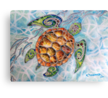 """Honu Island Waters"" Tropical Tribal Sea Turtle Painting by Christie Marie Elder-Ussher Canvas Print"