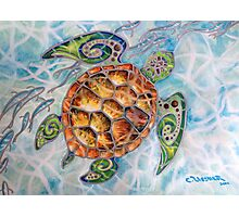 """""""Honu Island Waters"""" Tropical Tribal Sea Turtle Painting by Christie Marie Elder-Ussher Photographic Print"""