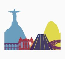 Rio de Janeiro skyline pop Kids Tee