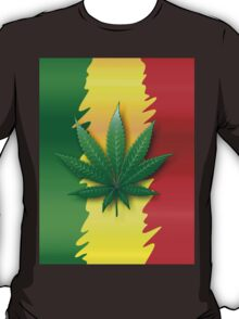 Cannabis Leaf on Rasta Flag  T-Shirt