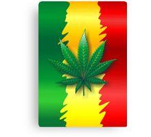 Cannabis Leaf on Rasta Flag  Canvas Print