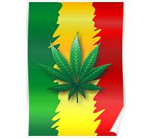 Cannabis Leaf on Rasta Flag  Poster