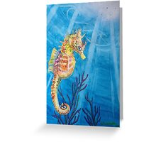 """Sea Freckles"" Tropical Sea Horse watercolor painting by Christie Marie Elder-Ussher Greeting Card"