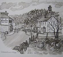 Pen and Ink-Llanarthne Village-Emlyn Arms Pub-01 by Pat - Pat Bullen-Whatling Gallery