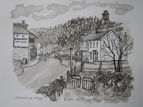 Pen and Ink-Llanarthne Village-Emlyn Arms Pub-01 by Pat - Pat Bullen-Whatling Gallery
