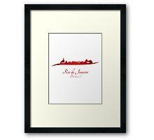 Rio de Janeiro skyline in red Framed Print