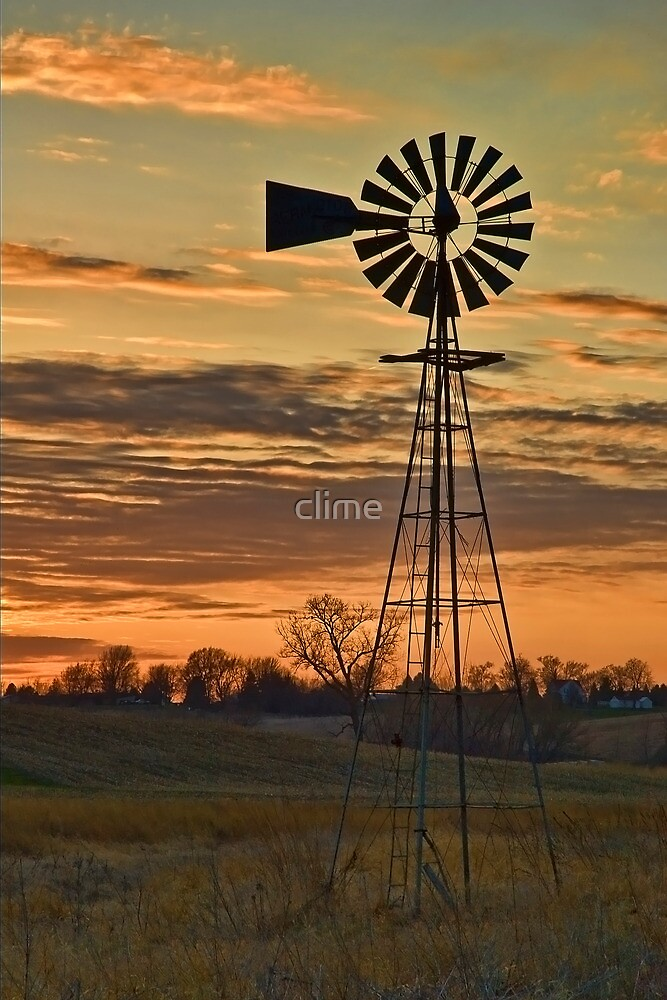 Sunset Windmill by clime