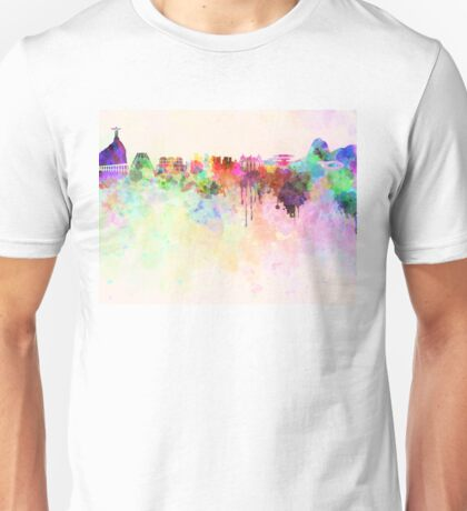 Rio de Janeiro skyline in watercolor background Unisex T-Shirt