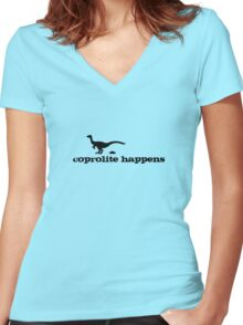 Coprolite Happens  Women's Fitted V-Neck T-Shirt