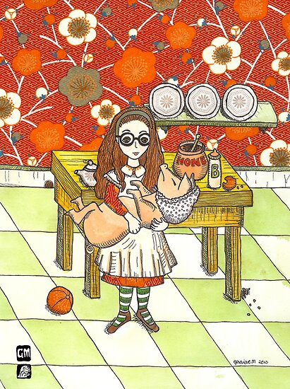 Alice and pig in kitchen by genevievem
