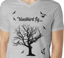 Black Bird Fly Mens V-Neck T-Shirt