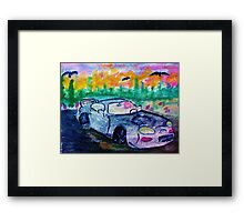 A sporty car, watercolor Framed Print