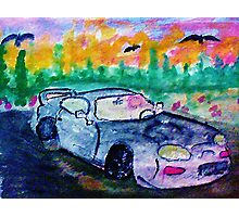 A sporty car, watercolor Photographic Print