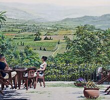 Stopping for coffee, Rousillon, France, with wooden chairs by Freda Surgenor
