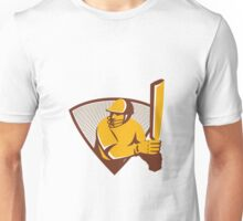 Cricket Batsman Batting Shield Retro Unisex T-Shirt
