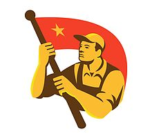 Communist Worker With Red Flag Star Retro by retrovectors